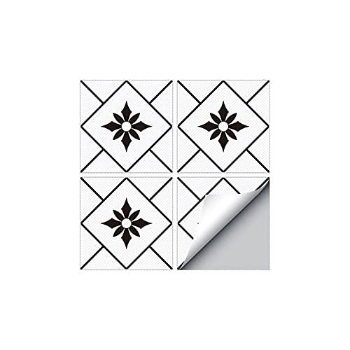 ABCABC Creativo Blanco y Negro Cerámica Dormitorio Dormitorio Decoración Decoración Impermeable Autoadhesivo Pavimento Vinilo CLORURO DE POLIVINILO (Color : DZ08, Size : 30X30cmX4PCS)