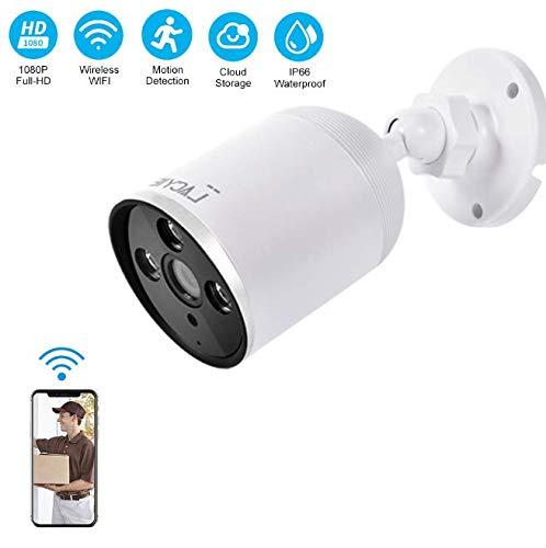 Überwachungskamera Aussen WLAN,LACYIE Full HD 1080P 2.4G Mikro WLAN IP Kamera mit Bewegungserkennung und Speicher,IP66 wasserdichte Infrarot Nachtsicht Compact Sicherheit Mini WiFi Kamera