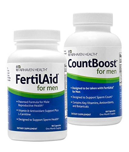 FertilAid for Men and CountBoost Combo - Male Fertility Supplement Pills - Sperm Count Booster, Motility Support, & Healthy Morphology Enhancer - Antioxidant & Specialty Vitamins for Male Fertility