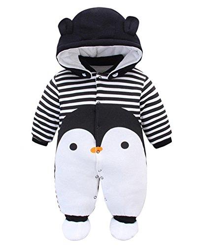 Minetom Otoño Invierno Bebé Niños Niñas Infantil Buzos Equipar Recién Nacido Espesar Mameluco Monos Caricatura Trajes Pingüino 5-6 Meses (68)