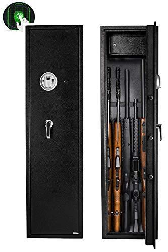 Gearmart Fast Access Rifle Safe Large and Durable for 5-Gun Shotgun Cabinet (Larger Rifle Safe-Biometric)