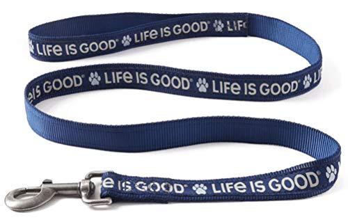 Life is Good Dog Leash, Darkest Blue, 6'