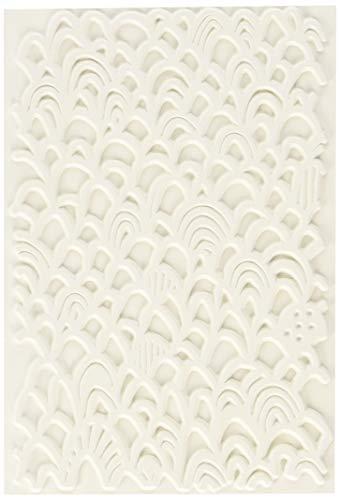 Sello de goma con textura en forma rectangular de carabelle studio art printing ,textura festoneada, para placas de gel monoprint
