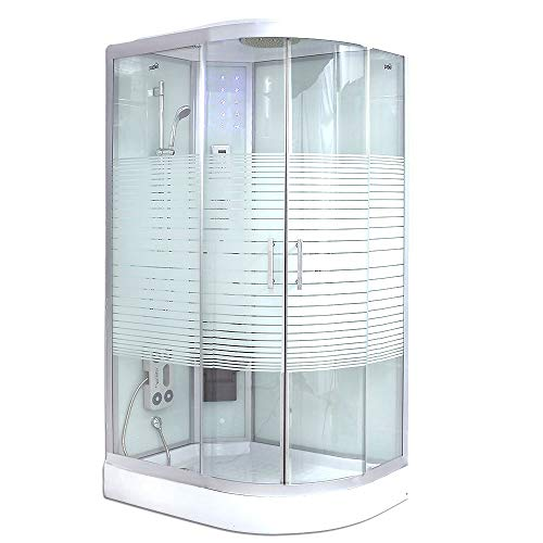 Home Deluxe - Dampfdusche 120x80 rechts - Komplettdusche White Pearl mit Regendusche | Duschtempel, Fertigdusche, Dusche, Duschkabine Komplett