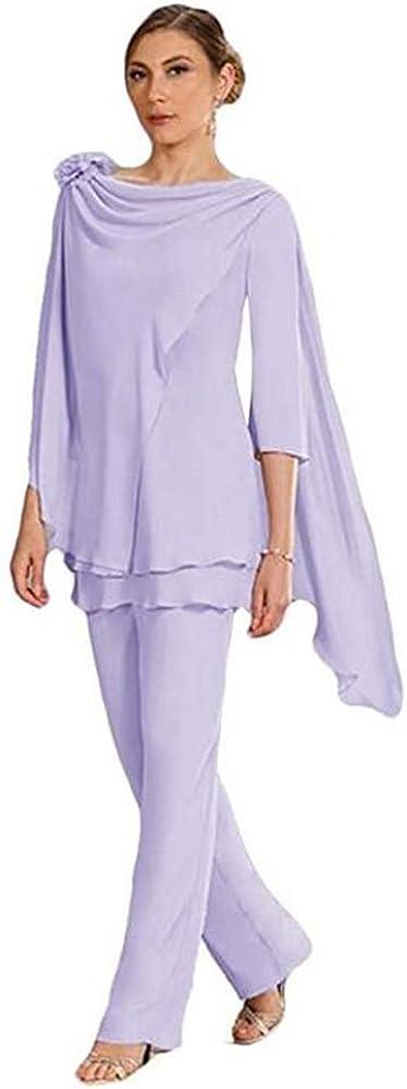 Women's 3 Pieces Elegant Chiffon Outfit Pant Suits Mother of The Bride Pant Suits