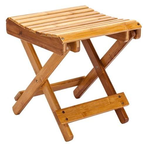 LTXDJ Taburete plegable de madera, taburete plegable de bambú, taburete pequeño portátil con ventilación, a prueba de moho