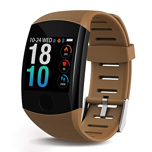 Deyawe Fitness Tracker,2019 Upgraded IP67 Activity Tracker Watch with Heart Rate Monitor Step Counter Calorie Counter Pedometer for Men Women Kids (Brown)