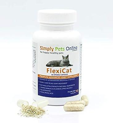Simply Pets Online Gelenk Kapseln für Katzen - Von Tierärzten entwickelt - Hochdosierte Grünlippmuschel, Glucosamin, Hyaluronsäure - Für gesunde Gelenke - 60 Streukapseln
