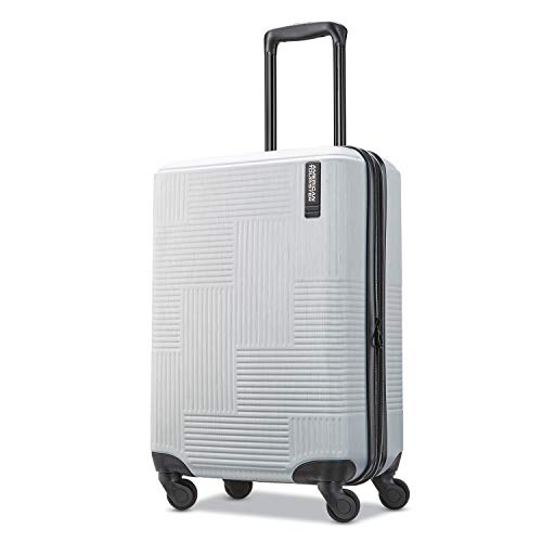 American Tourister Stratum XLT Expandable Hardside Luggage with Spinner Wheels, Bright Silver, Carry-On 21-Inch