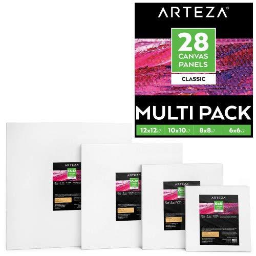 ARTEZA Paneles de lienzos cuadrados | 4 tamaños (pulgadas): 6x6, 8x8, 10x10, 12x12 | Set de 28 lienzos blancos imprimados | 100% algodón con núcleo reciclado | Acrílico, óleo, medios secos o húmedos