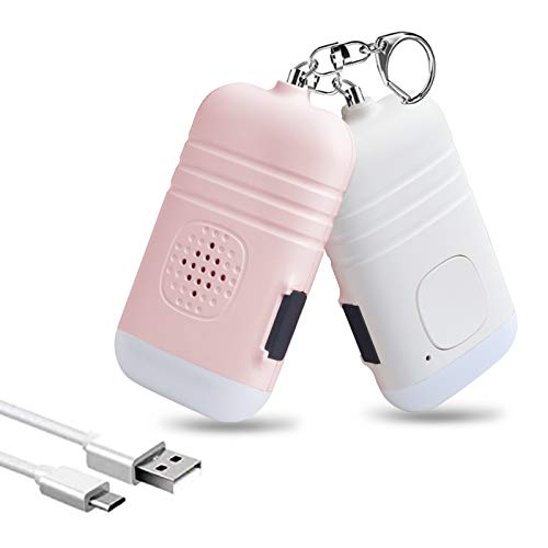 Safesound Personal Alarm- 2 Pack 130dB USB Rechargeable Self Defense Keychain Siren Security Personal Protection Devices with Emergency Mini LED Light for Women Girls Kids and Elderly (White&Pink)