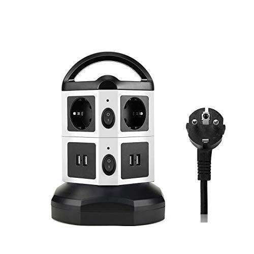 Regleta Vertical Enchufes de 6 Tomas Corrientes, 4 USB Tomas, Cable Extensible de 3 Miter, Proteccion Sobretension