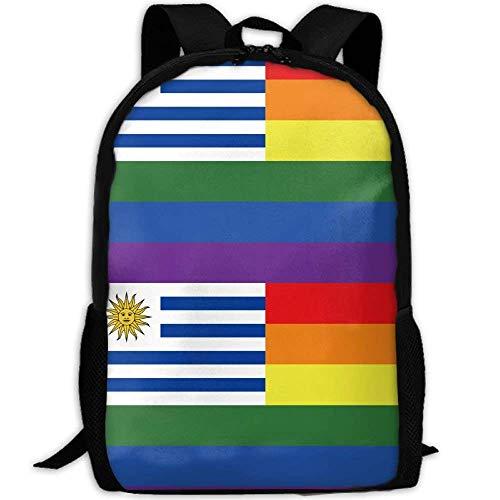 Lsjuee LGBT Gay Pride Rainbow Uruguay Flag Mochila de Viaje para Adultos Mochila Escolar Mochila Informal Oxford Bolsa para computadora portátil al Aire Libre Bolsas de Hombro para computadora