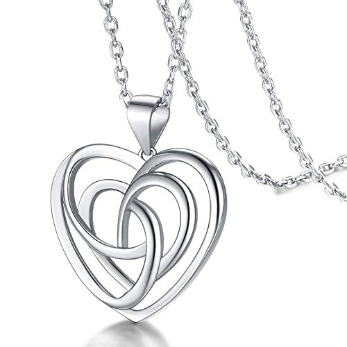 FaithHeart Heart Knot Necklace Celtic Pendant for Women Sterling Silver Vintage Irish Jewelry Charms with 20 in Rolo Chain