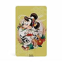 ミニーマウスUSBメモリ64GB 防水 防塵 超高速データ転送 耐衝撃 カード式 キャラクター
