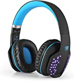 Bluetooth Headphones with Mic, Q2 Foldable Noise Cancelling Over-Ear Headset for PS4 PSP PC Laptop Mobile Game Music Enhanced Bass (Black Blue)