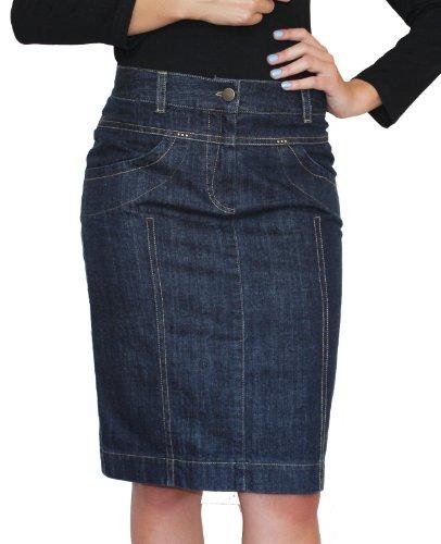 Damen Freizeit Rock Bleistift Boutique Knielang Blau Denim Jeans Größe EU 36 38 40 42 44 46 48 50 (42)