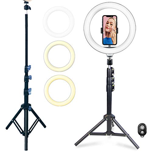 "[Amazon] 40% Off 10-inch LED Selfie Ring Light Kit with 53.5"" Extendable Tripod Stand, for Live Stream/Makeup $22.49"