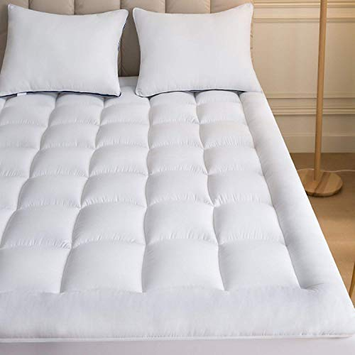 Mattress Topper Queen with 2 Pillow Case Plush Down Alternative Pillow Top 60x80 Inches Quilted Fitted Skirt Protector Mattress Pad Reviver Enhancer Deep Pocket Fits 20 Inches Soft Queen 60x80
