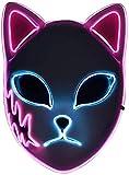 Demon Slayer Fox Mask LED Halloween Mask Japanese Anime Demon Slayer Cosplay (Pink Ears)