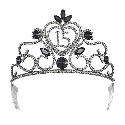 YZHSTONE Quinceanera Princess 15 Birthday Tiara Crowns Black Metal Crystal Birthday Girls Tiaras Crown