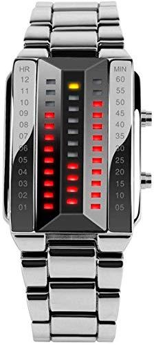 FEE-ZC Personalidad Creativa Relojes Digitales binarios, LED de Doble Fila Acero Inoxidable...