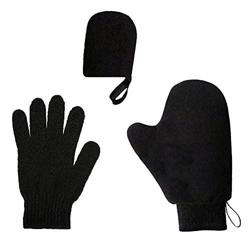 Aplicador de loción bronceadora,juego de autoaplicador 3 en 1 con guante exfoliante,aplicador de manopla autobronceadora de 3 estilos, manopla bronceadora para loción gloves