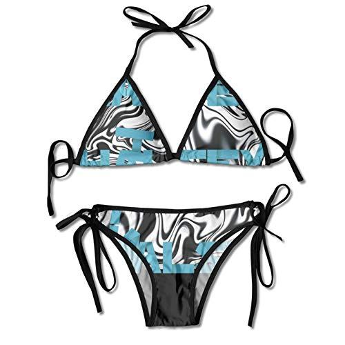Kanmenenjie Halsey Bikini Women's Sexy Side Triangle Bikini Set Casual Bathing Suit Black