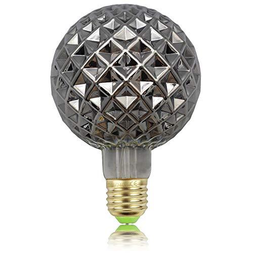 Tianfan Retro-Glühbirnen, LED-Glühfaden, Edison-Glühbirnen, 4W, Rauchglas, 220/240V, E27, Kristall, dekorative Glühbirnen Art Deco G95 Kristall
