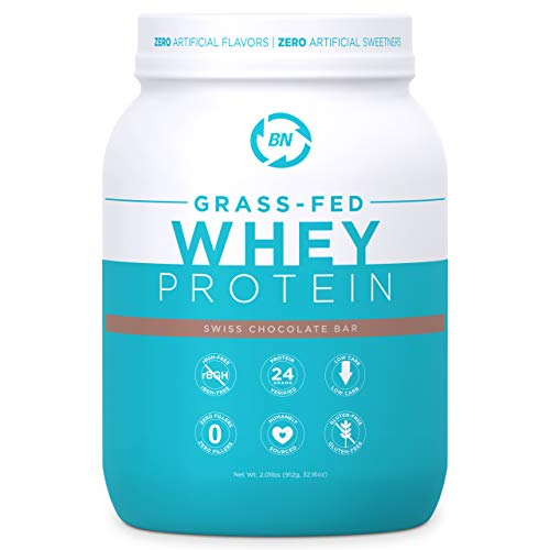 Grass Fed Whey Protein Chocolate 2lb - 100% Pure and Natural - 2 lb/24 Servings - 24g Protein - Cold Processed - Non-GMO - rBGH-Free - High Quality from Happy Healthy Cows USA