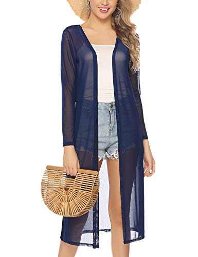 Abollria Open Front Cardigans for Women Lightweight Cover-up Long Sleeve Cardigan Sweaters Navy Blue