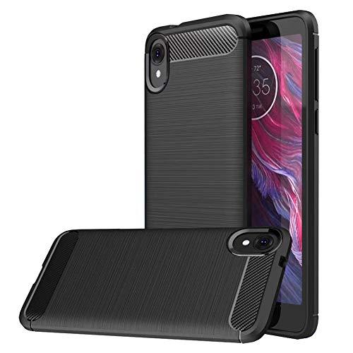 Moto E6 case, MAIKEZI Soft TPU Brushed Anti-Fingerprint Full-Body Protective Phone Case Cover for Motorola Moto E6 / Moto e 6th gen(Black Brushed TPU)