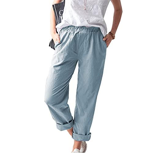 melupa Summer Pants for Women Casual Pockets Cotton Linen Wide Leg Trousers Loose Elastic Waist Capris Beach Crop Pants Light Blue