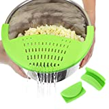 Salbree Silicone Snap Vegetable and Ground Beef Grease Strainer fits the 6qt Instant Pot and Snaps to the 6 quart Instapot Pressure Cooker Inner Pan Small Mitts Set Included (6qt, green)