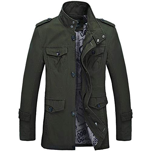 Hanomes Herren Jacke,Herren Winter Warme Mode Einfarbig Mantel Casual Pilotenjacke Lose Sweatshirt 2 in 1 Reißverschluss Knopf Funktionsjacke (Grün01, XXXXL)