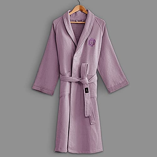 DIAOD Hotel Bathrobe Men Women Autumn Winter Thick Cotton Waffle Bath Robe Male Crown Embroidery Absorbent Towel Robes (Color : Classic White)