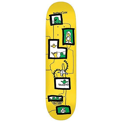 Krooked Anderson Frames - Tavola da skateboard 21,3 cm, colore: Giallo
