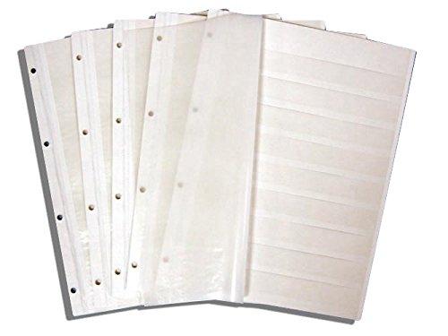 10 Prophila Einsteckseiten auf 5 Blättern, 9zeilig weißer Karton und je 2 Pergamin-Zwischenblättern pro Blatt