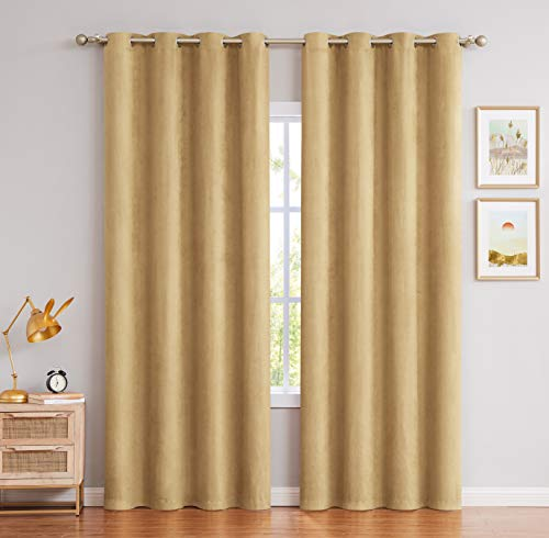 Elrene Home Fashions Athena Faux Silk Light Filtering Window Curtain Panel Set And Scarf Valance 52 X84 2 1 Gold Home Kitchen
