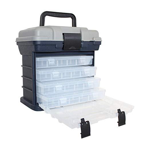 FEEE-ZC Caja de Herramientas Multifuncional, PP + ABS Mango de plástico Caja contenedor de múltiples Capas Caja de Herramientas de 4 Pisos
