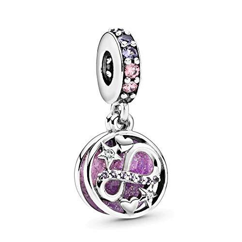 Caleydo – Charm infinito, viola, I Love You to Infinity & Beyond, in argento Sterling 925, con confezione regalo, compatibile con bracciale Pandora