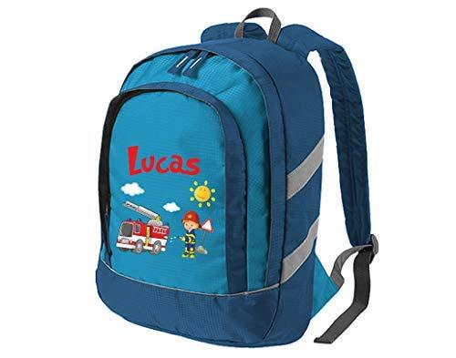 Mein Zwergenland Kindergartenrucksack Bicolor mit Name Feuerwehr, 6L, Blau