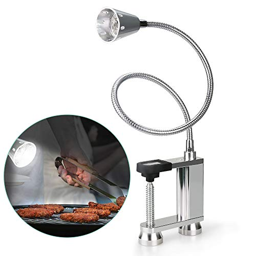 Jhua BBQ Grill Light 12 LED Super Bright, 24 inch Long Flexible Neck Attaches Clip On Outdoor...