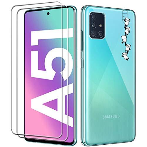 Yoowei para Samsung Galaxy A51 Funda + [2-Pack] Cristal Templado, Pandas Transparente Suave Delgado TPU Silicona Carcasa con 2 Unidades Protector de Pantalla de Vidrio Templado para Samsung A51