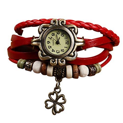 Demarkt Retro Vintage Klee Design Damen Armbanduhr Armreif Uhr Anhänger Spangenuhr Quarzuhren (Rot)