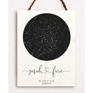 Dein Sternenhimmel – personalisiert hochwertig gedruckt auf Holz das perfekte Geschenk zur Hochzeit zum Jahrestag zur…