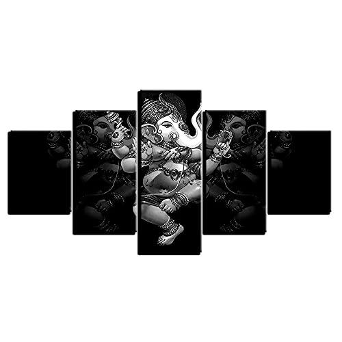 WUHUAGUO Cuadro sobre Lienzo - 5 Piezas - Impresión En Lienzo Dios De La Trompa De Elefante Cuadro De Pintura Póster De Arte Moderno Oficina Sala De Estar O Dormitorio 150X80Cm