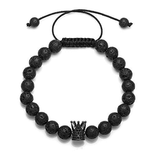 JSDDE Edelstein Partnerarmbänder Lavastein Buddha Armband König und Königin Perlenarmband Verstellbar Pärchen Strecharmband König Krone #Schwarz