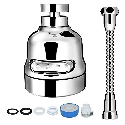 Accesorio de rociador de grifo, cabezal de rociado móvil para fregadero de cocina VAESIDA giratorio de 360 ° con manguera, el mejor filtro de refuerzo de grifo y filtro de rociador de ahorro de agua