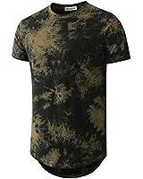 Mens Hip Hop Tie-Dyed Hipster Curve Hem T Shirt(1803ZR ArmyGreen S)